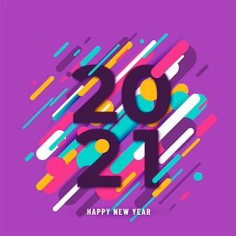 Fundo de feliz ano novo de 2021 com grandes números e linhas abstratas