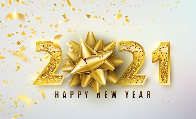 Fundo de feliz ano novo de 2021 com laço dourado para presente, confete e números de ouro com glitter brilhantes
