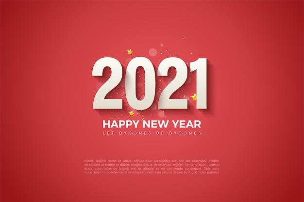 Fundo de feliz ano novo de 2021 com números em relevo sombreados no fundo vermelho