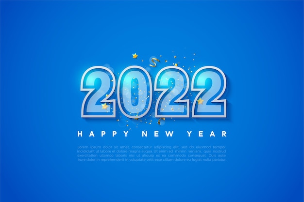 Fundo de feliz ano novo de 2022 com borda de número duplo