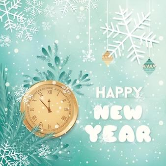 Fundo de feliz ano novo de natal com estrelas de flocos de neve de relógio e efeito bokeh