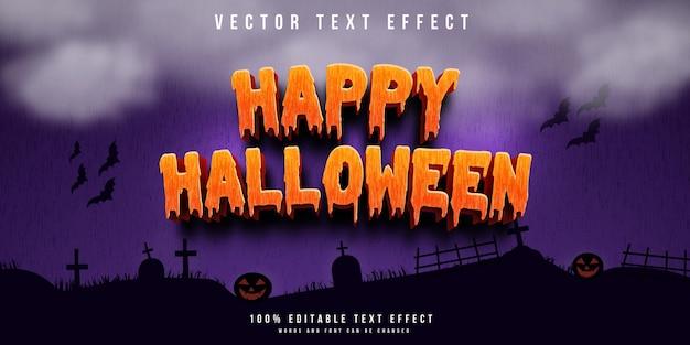 Fundo de feliz dia das bruxas com efeito de texto 3d