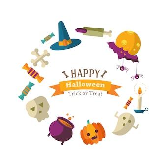 Fundo de feliz dia das bruxas com ícones planas