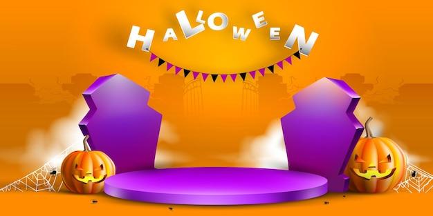 Fundo de feliz dia das bruxas com lápide de exibição de pódio em estúdio laranja de exibição de pedestal