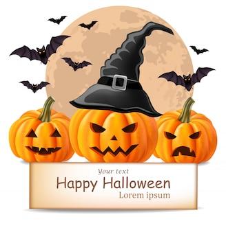 Fundo de feliz dia das bruxas com rostos de abóbora e morcegos