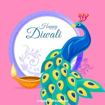 Fundo de feliz diwali com pavão