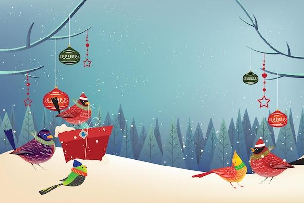 Fundo de feliz feriado de natal com tempo de neve