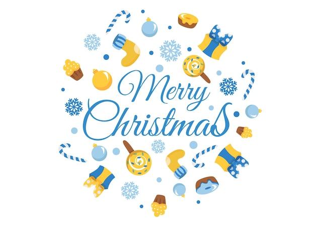 Fundo de feliz natal. cartão de férias de inverno com elementos de design de mão desenhada de caligrafia