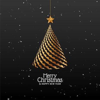 Fundo de feliz natal com árvore de natal dourada