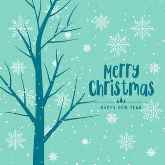 Fundo de feliz natal com árvore e flocos de neve