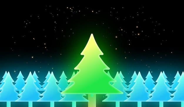 Fundo de feliz natal com árvores de natal brilhantes