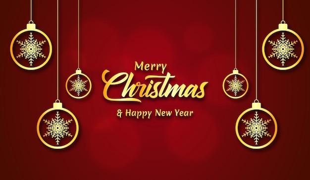 Fundo de feliz natal com bolas douradas decorativas