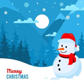 Fundo de feliz natal com boneco de neve