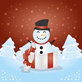 Fundo de feliz natal com caráter boneco de neve bonito