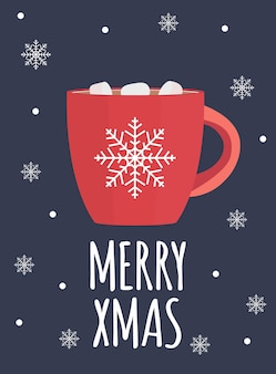 Fundo de feliz natal com chocolate quente.