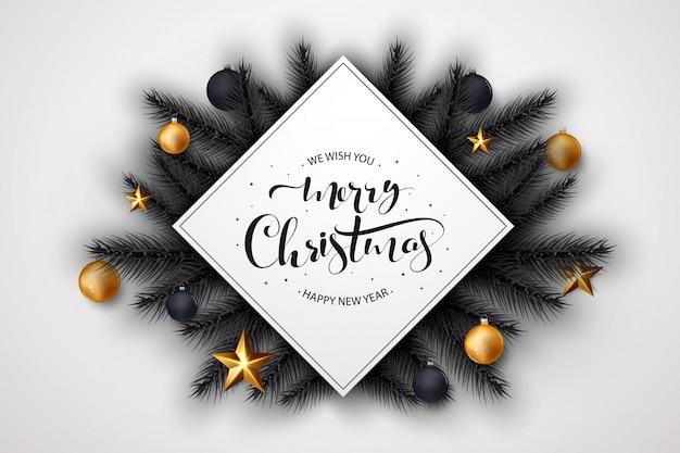 Fundo de feliz natal com decoração dourada e preta