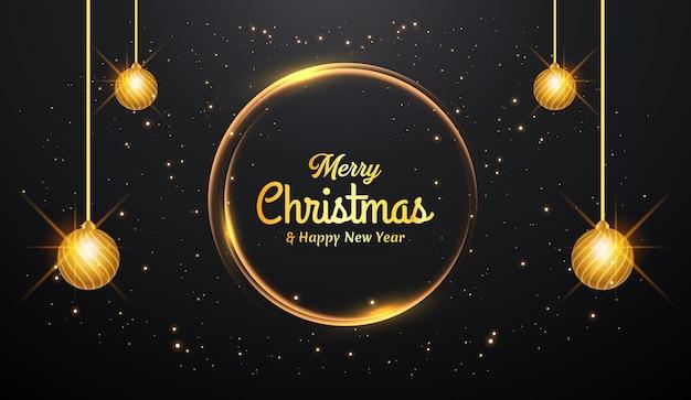 Fundo de feliz natal com decoração dourada