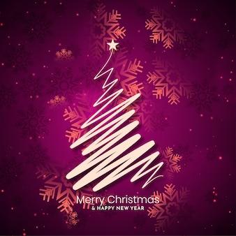 Fundo de feliz natal com desenho de árvore de arte de linha Vetor grátis