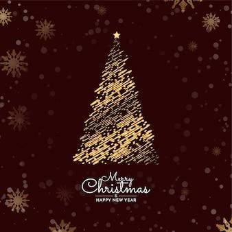 Fundo de feliz natal com desenho de árvore decorativa