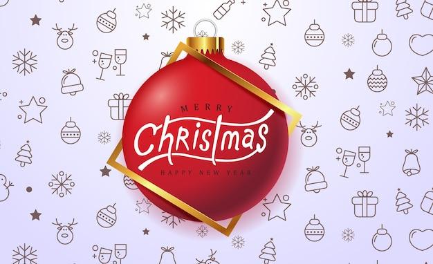 Fundo de feliz natal com enfeite de bola de natal