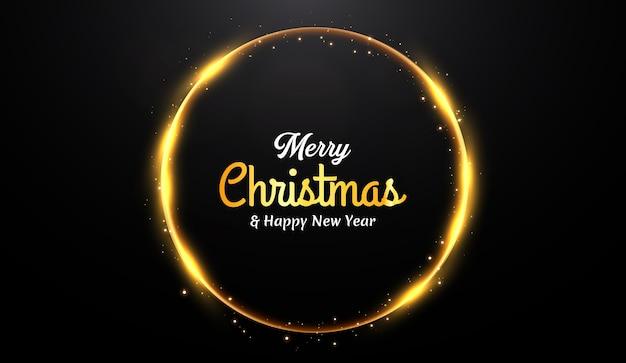 Fundo de feliz natal com luz dourada e partículas