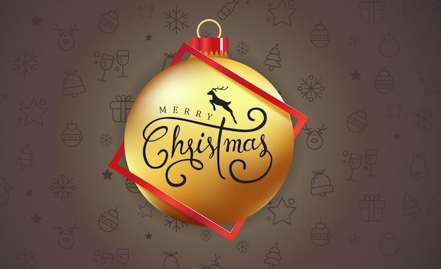 Fundo de feliz natal com ornamento de bola de natal e padrão de ícone.