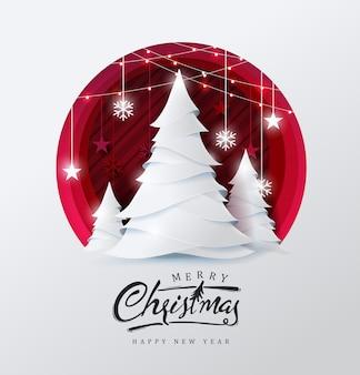 Fundo de feliz natal decorado com árvore de natal e estilo de corte de papel estrela.