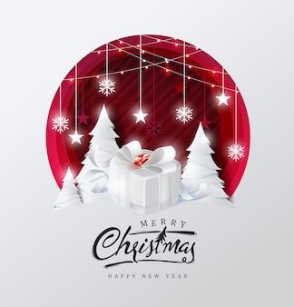 Fundo de feliz natal decorado com caixa de presente em estilo de corte de papel floresta e estrela.
