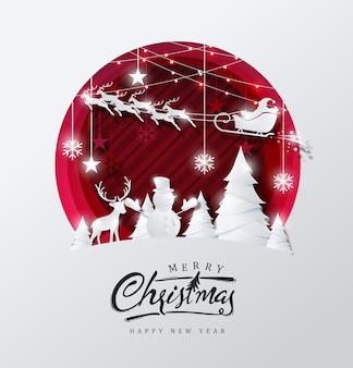 Fundo de feliz natal decorado com estilo de corte de papel.
