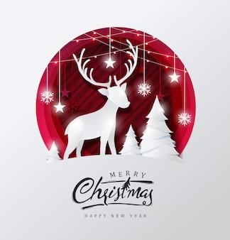 Fundo de feliz natal decorado com veados em estilo de corte de papel de floresta e estrela.