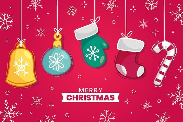 Fundo de feliz natal desenhado à mão