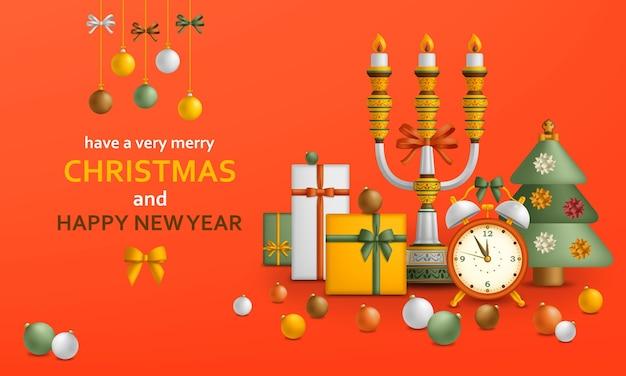 Fundo de feliz natal e bolas douradas de feliz ano novo, caixas de presente e despertador