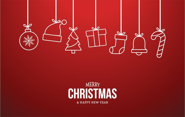 Fundo de feliz natal e feliz ano novo com ícones lisos de natal