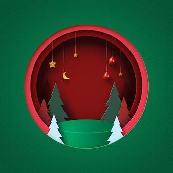 Fundo de feliz natal e feliz ano novo pódio verde no círculo vermelho decorado com árvore de natal, bola de natal e estrelas arte em papel