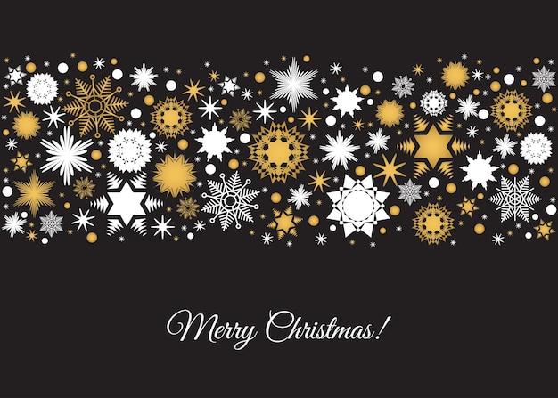 Fundo de feliz natal. fita com padrão de férias de flocos de neve brancos e dourados, elementos de natal e decorações. ilustração vetorial para design de cartão, etiqueta, cartaz ou convite.