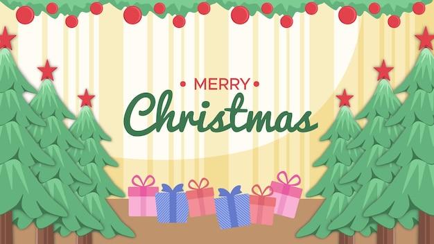 Fundo de feliz natal na sala há uma árvore, presentes e texto de feliz natal