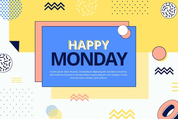Fundo de feliz segunda-feira no estilo memphis