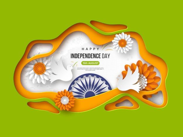 Fundo de feriado do dia da independência indiana. formas de corte de papel com sombra, pombas, flores, roda 3d no tricolor tradicional da bandeira indiana. texto de saudação, ilustração vetorial.