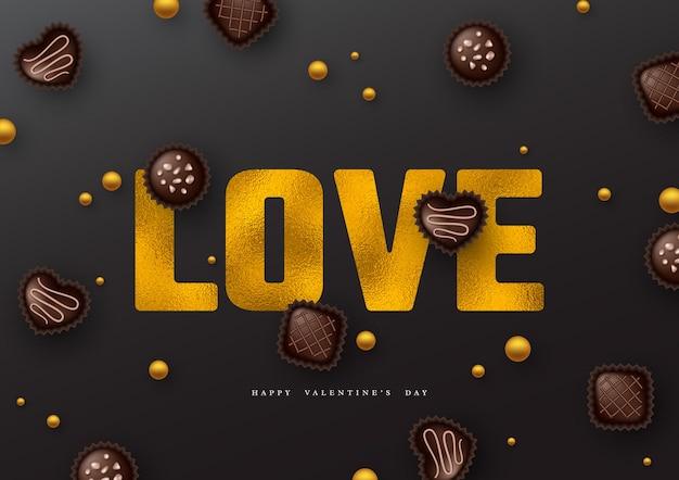 Fundo de feriado do dia dos namorados. palavra brilhante amor com efeito de folha