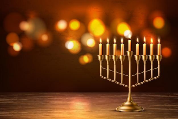 Fundo de feriado judaico de hanukkah com candelabro de menorá dourado