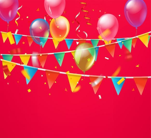 Fundo de férias com balões e bandeiras