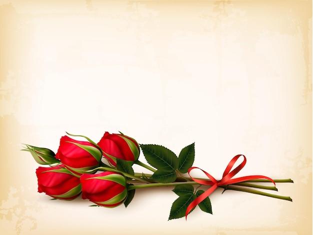 Fundo de férias com buquê de rosas vermelhas. vetor.