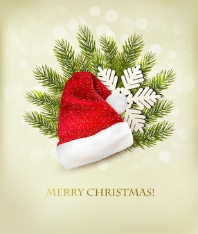 Fundo de férias com chapéu de papai noel e árvore de natal