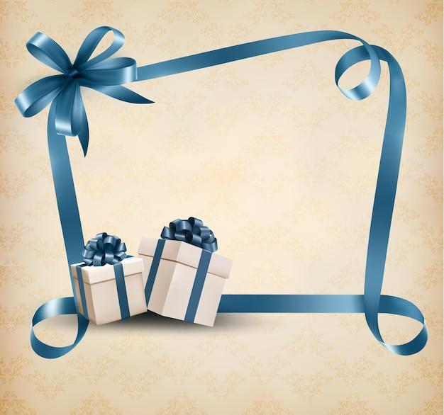 Fundo de férias com fita de presente e caixa de presente