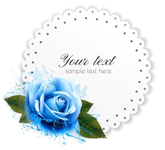 Fundo de férias com flor azul e cartão-presente. vetor.