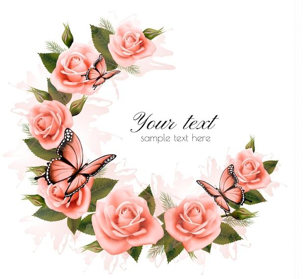 Fundo de férias com flores de beleza e borboletas. vetor.