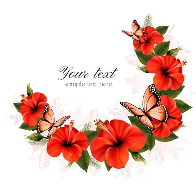 Fundo de férias com flores vermelhas de beleza e borboletas. vetor