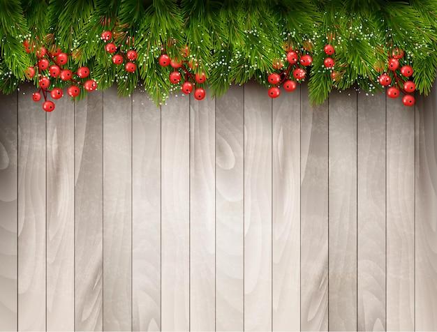 Fundo de férias com galhos de árvores de natal.