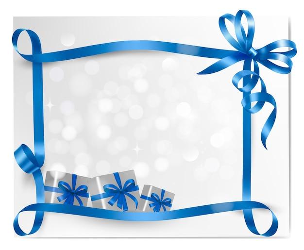 Fundo de férias com laço azul e caixas de presente