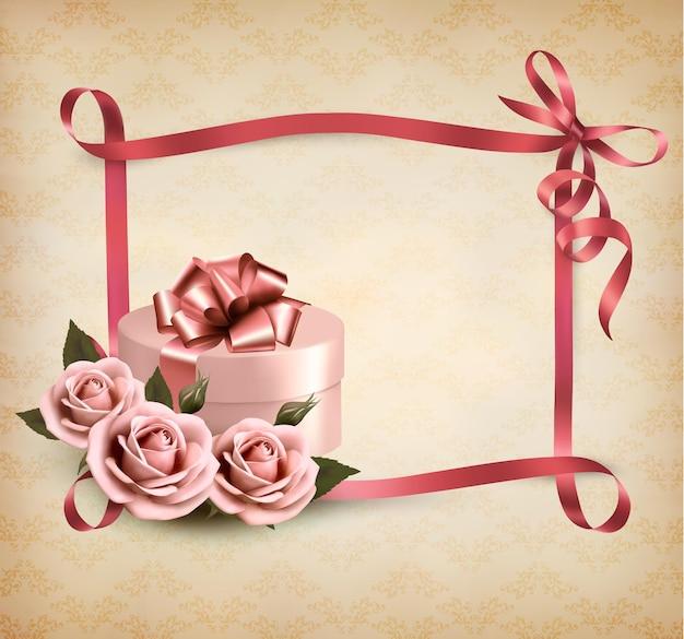 Fundo de férias com três rosas e caixa de presente e fita.